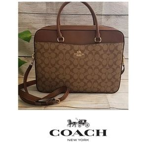 Coach Laptop Bag - Khaki/Saddle